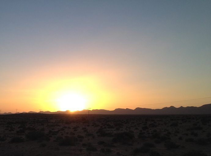 Sunset in the Tunisian semi-desert